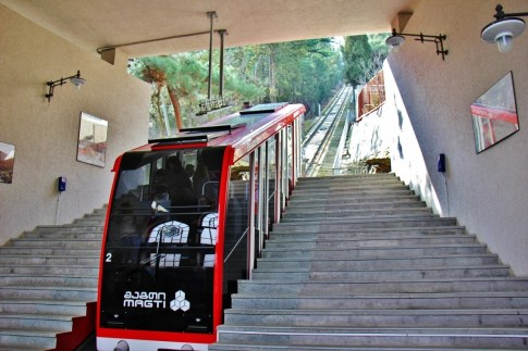 Funicular ascending the track, Tbilisi, Georgia