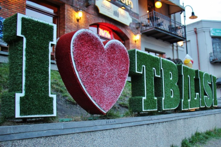 Welcoming I Love Tbilisi sign in Tbilis, Georgia