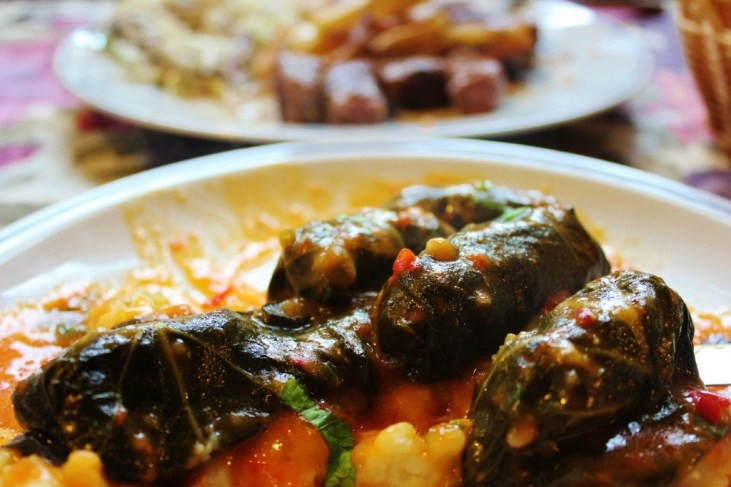 Japrak - meat and rice stuffed grape leaves - in Mostar, Bosnia-Herzegovina