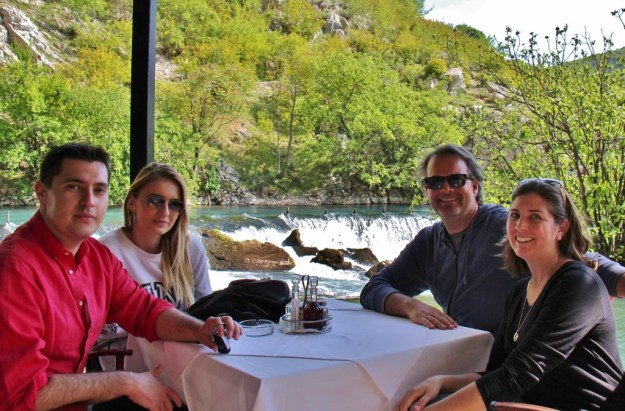 Visiting with friends at a cafe in Mostar, Bosnia-Herzegovina