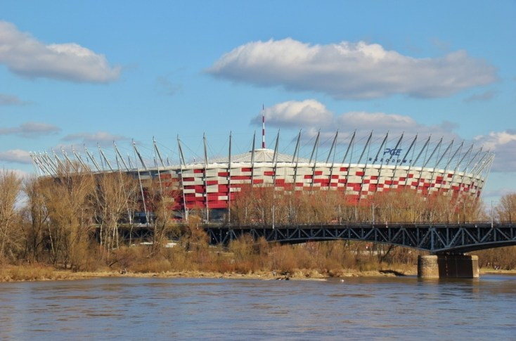 National Stadium and Vistula River in Warsaw, Poland