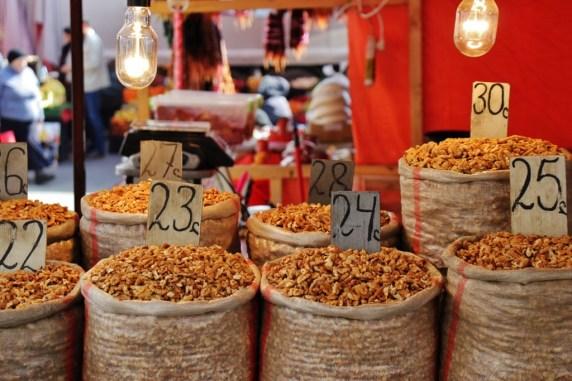 Burlap sacks of Nuts for sale at Dezerter Market, Tbilisi, Georgia