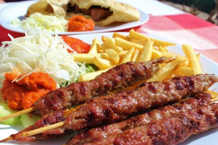 Lamb shish kebabs in Mostar, Bosnia-Herzegovina