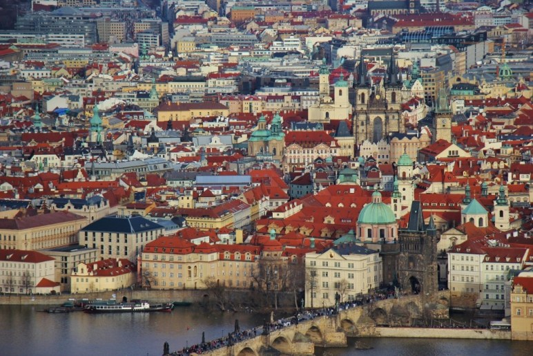Petrin Tower View of Charles Bridge and Old Town, Prague, Czech Republic, JetSettingFools.com
