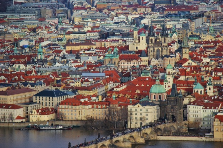 Petrin Tower View of Charles Bridge and Old Town, Prague, Czech Republic, JetSettingFools.com