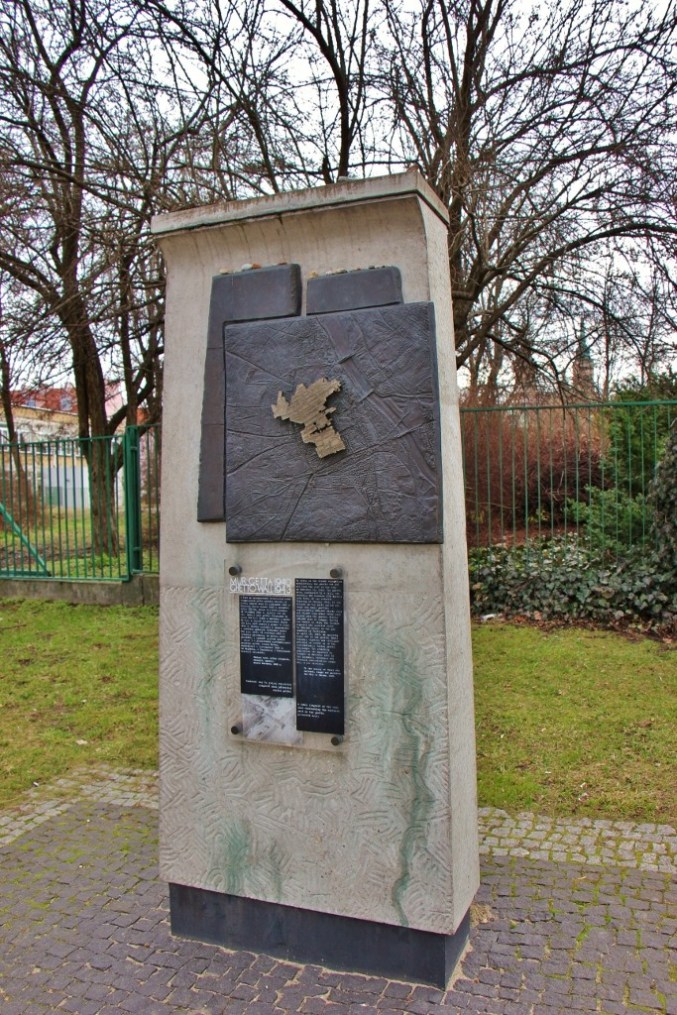 A section of concrete wall from the Warsaw Ghetto in Warsaw, Poland