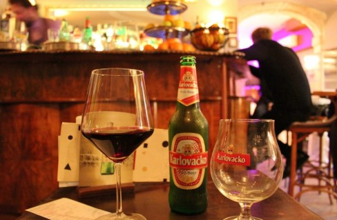 Wine and beer after dinner in Diocletian's Palace in Split, Croatia
