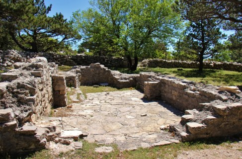 Stone foundation of old church on Vidova Gora peak on Brac, Croatia