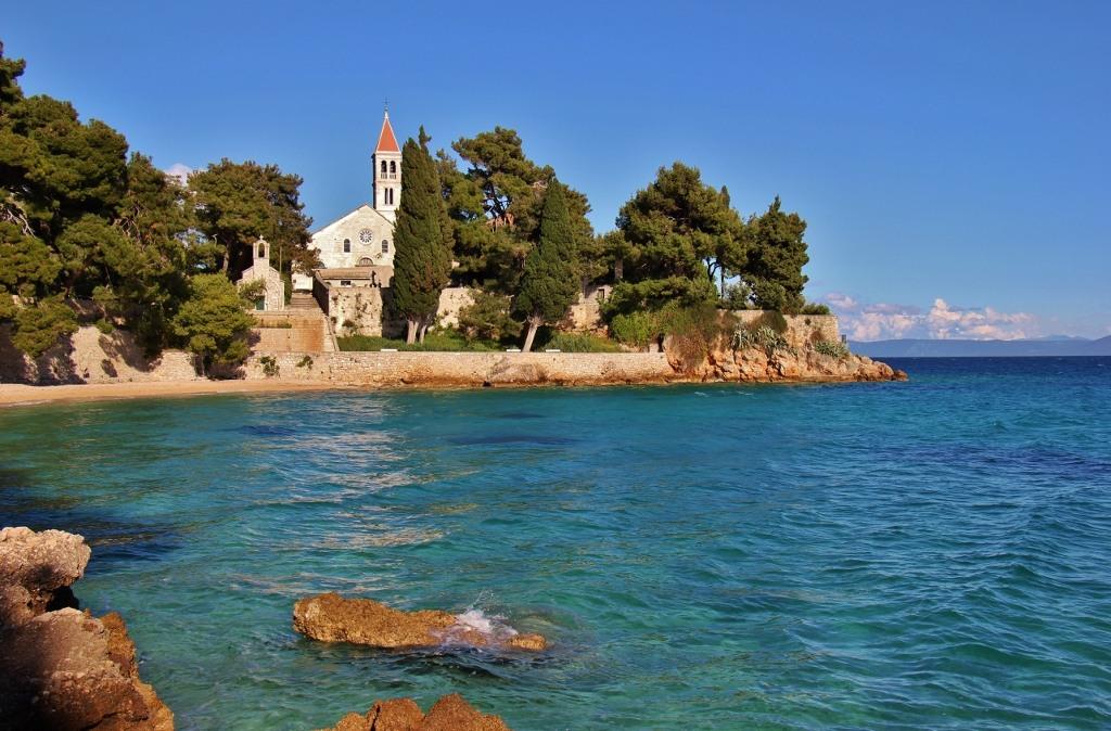Dominican Monastery on coastline in Bol, Brac, Croatia