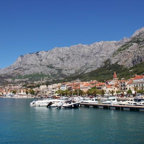 Harbor and Biokovo Mountains, Makarska, Croatia