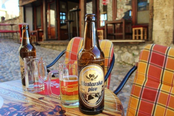 Local Beer at Cafe Stari Grad, Mostar, Bosnia Herzegovina