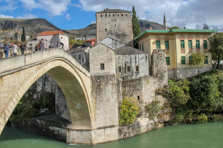 The Old Bridge viewpoint in Mostar, Bosnia and Herzegovina