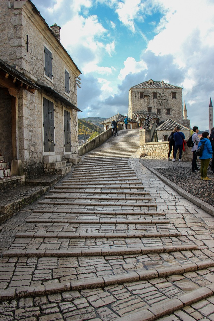 The path leading to the Stari Most Old Bridge in Mostar, Bosnia and Herzegovina