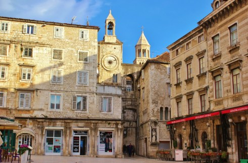 People's Square and clock tower in Split, Croatia