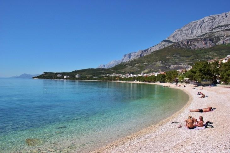 Crescent beach in Tucepi near Makarska, Croatia