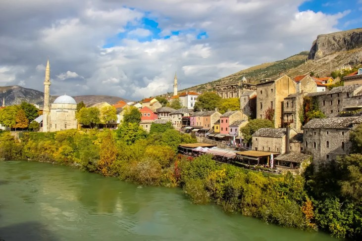 River view from Stari Most Bridge in Mostar, Bosnia and Herzegovina