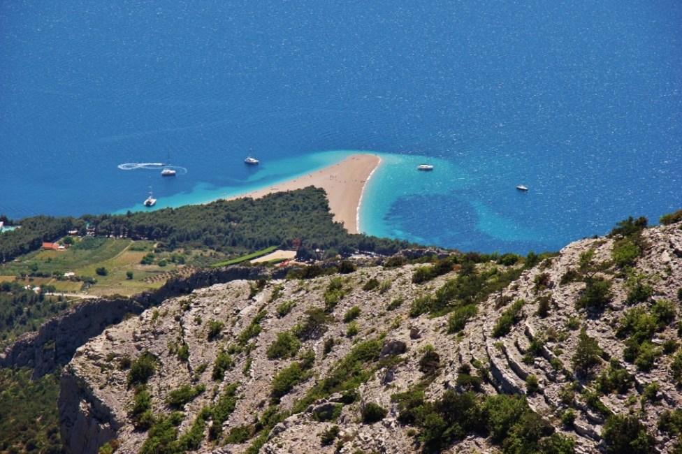 Looking down at Zlatni Rat Beach from Vidova Gora, Bol, Brac, Croatia
