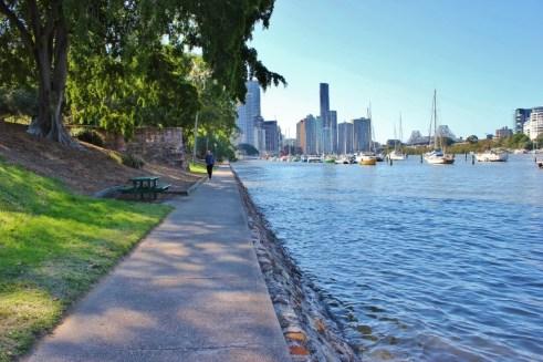 Walking and Biking Riverside Path in Brisbane, Australia