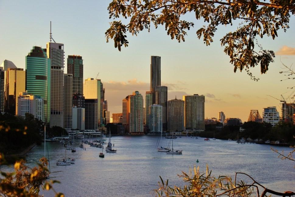 Sunset on CBD from Kangaroo Point, Brisbane, Australia
