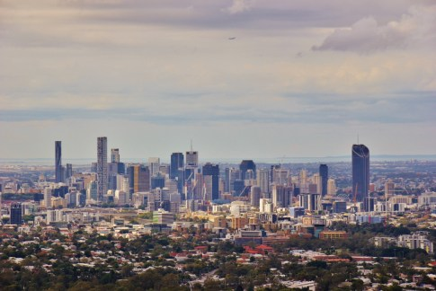 City view from Mt. Coot-tha Summit Lookout Viewpoint in Brisbane, Australia