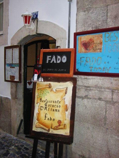 Fado sign at restaurant in Lisbon, Portugal