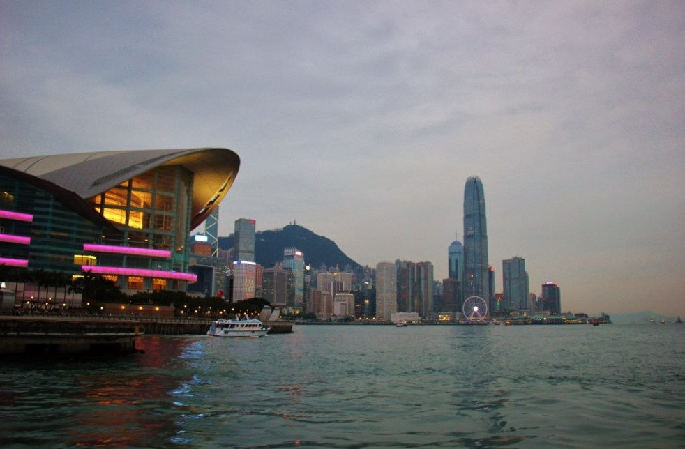 Hong Kong Exposition Center and skyline at dusk