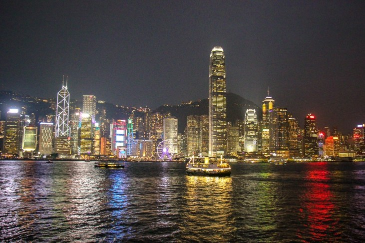 View of Hong Kong Island from TST at night