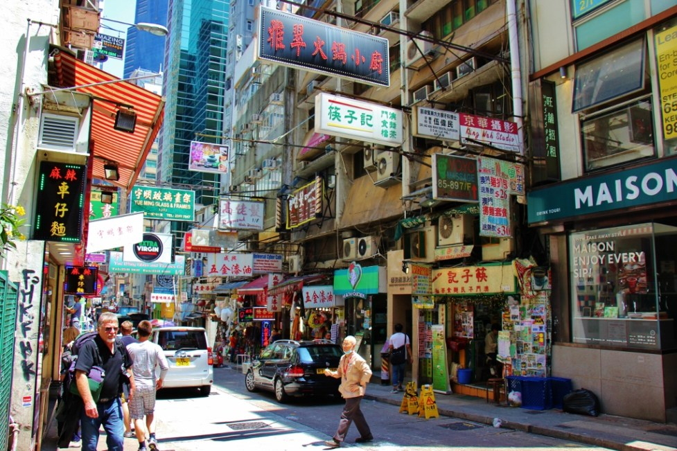Busy Street in Hong Kong Central