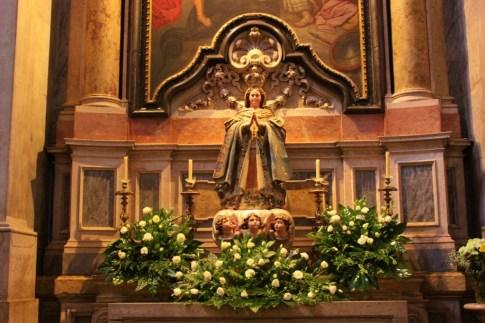 Statue inside Basilica da Estrela in Lisbon, Portugal