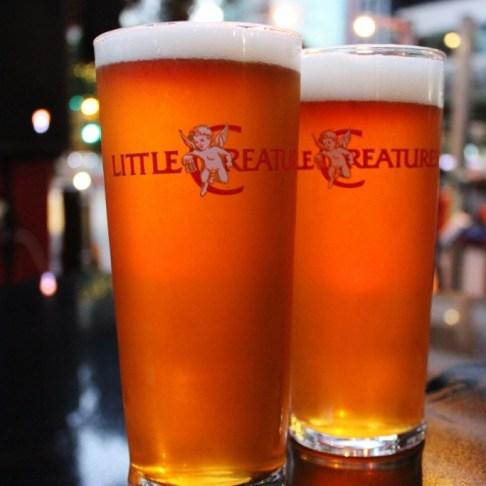 Two pints of Little Creatures Craft Beer in Brisbane, Australia
