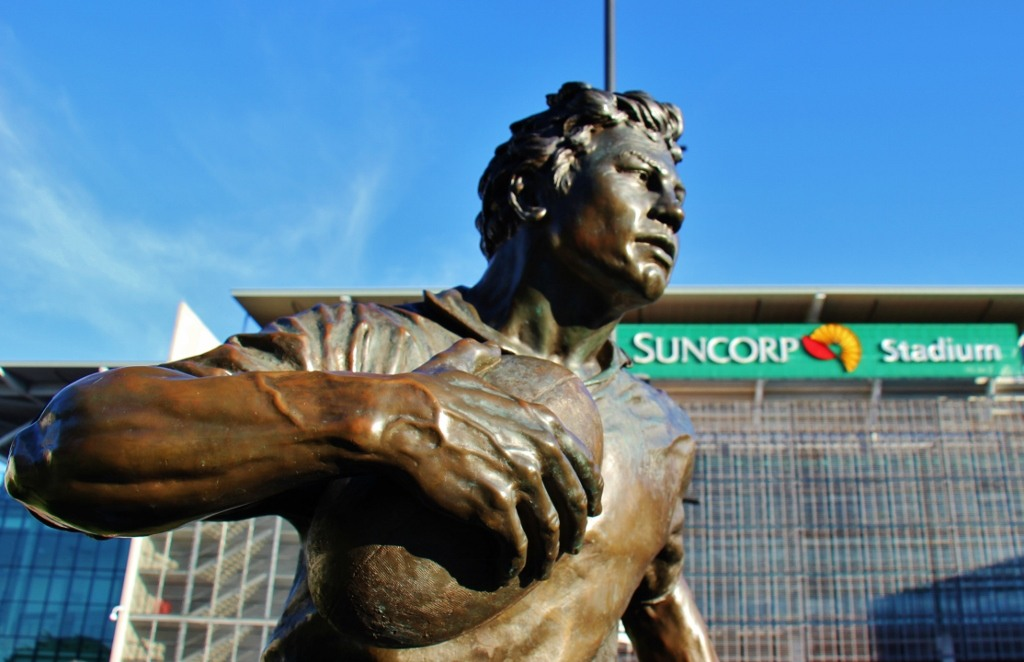 A Rugby Statue at Suncorp Stadium in Brisbane, Australia