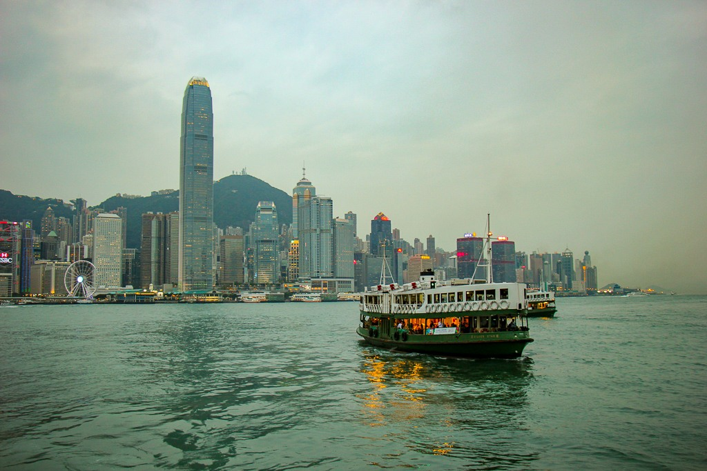 Victoria Harbour Star Ferry And Hong Kong Skyline