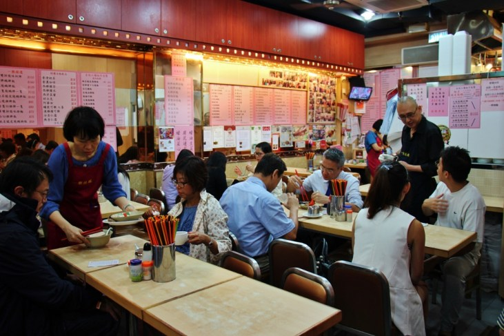 Tables at Yat Lok Restaurant in Central Hong Kong