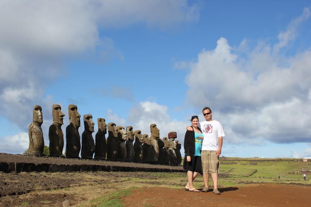 Sarah and Kris at Tongariki on Easter Island, JetSettingFools.com