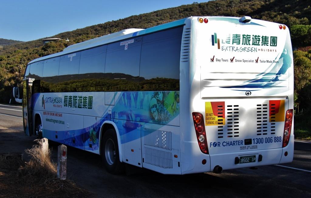 Extra Green Holidays Tour Bus on Great Ocean Road, Australia, JetSettingFools.com