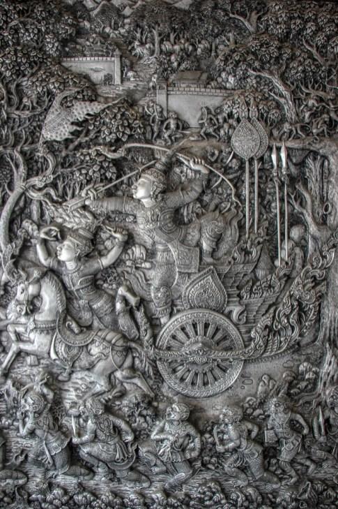 Intricate silver artwork at Wat Muen San in Chiang Mai, Thailand