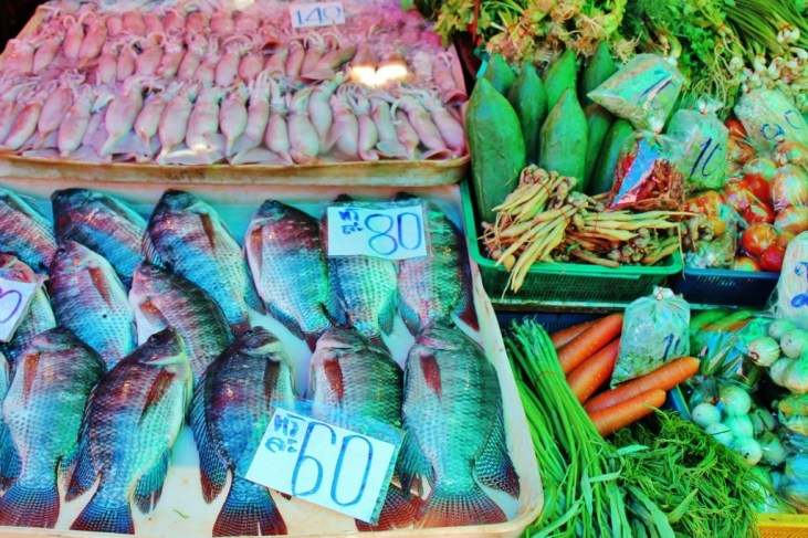 Fresh fish and produce at Khlong Toei Market in Bangkok, Thailand