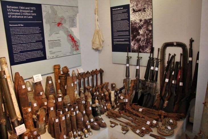Display of ammunition and bombs at UXO Laos Visitor Center in Luang Prabang, Laos