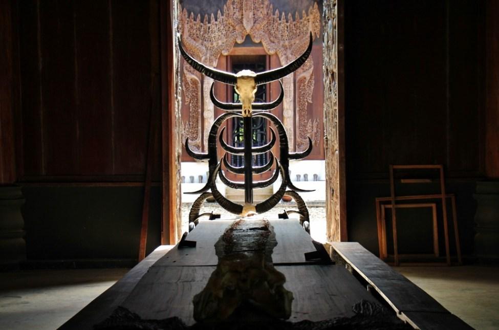 An animal horn chair at Black House Museum, Baan Dam, in Chiang Rai, Thailand