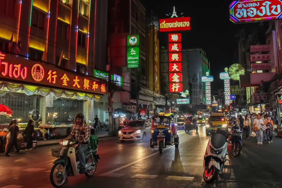 Glowing neon signs in Chinatown in Bangkok, Thailand