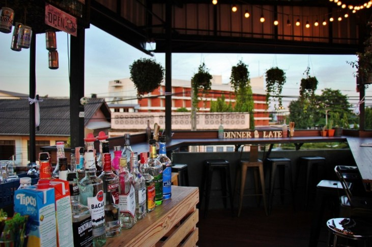 Rooftop bar at Dinner Late Cafe and Hangout in Chiang Rai, Thailand