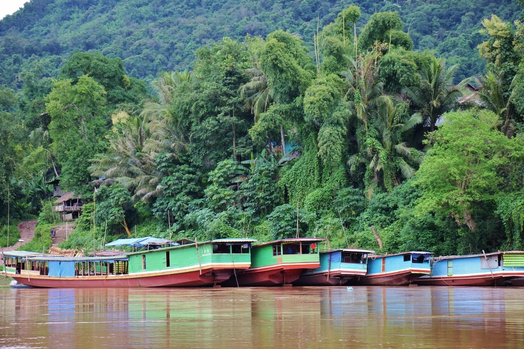 Slow Boats on Mekong River in Laos