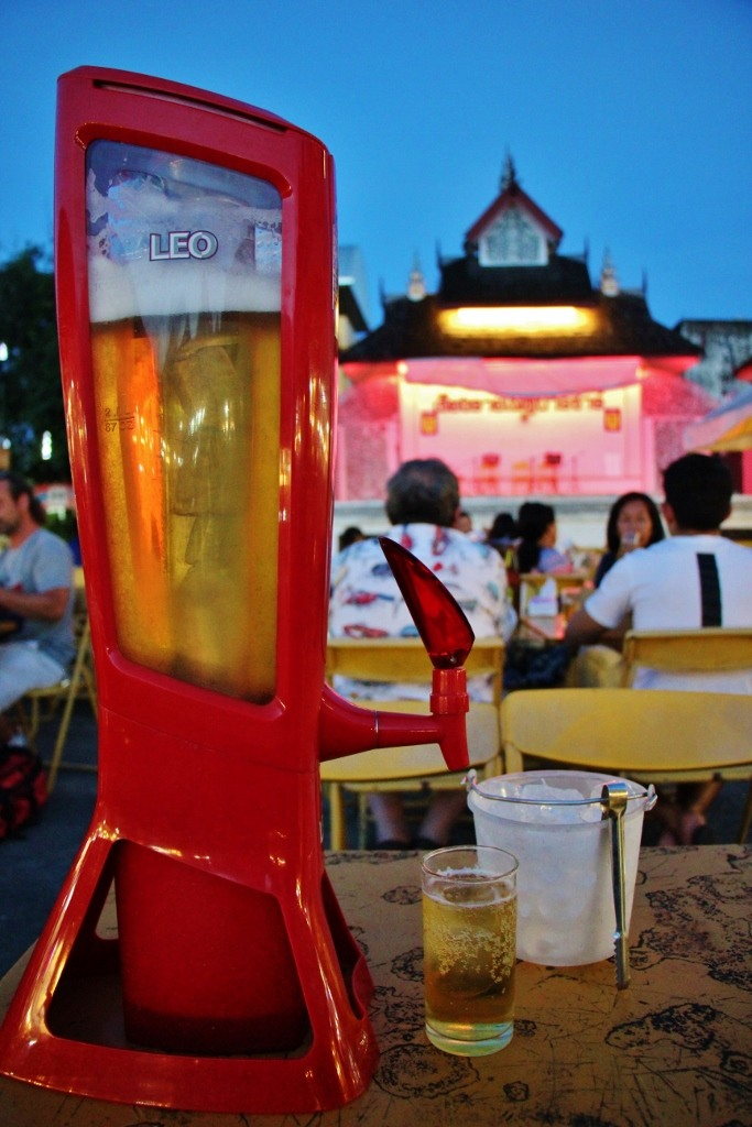 Tower of Leo Beer at Night Market in Chiang Rai, Thailand