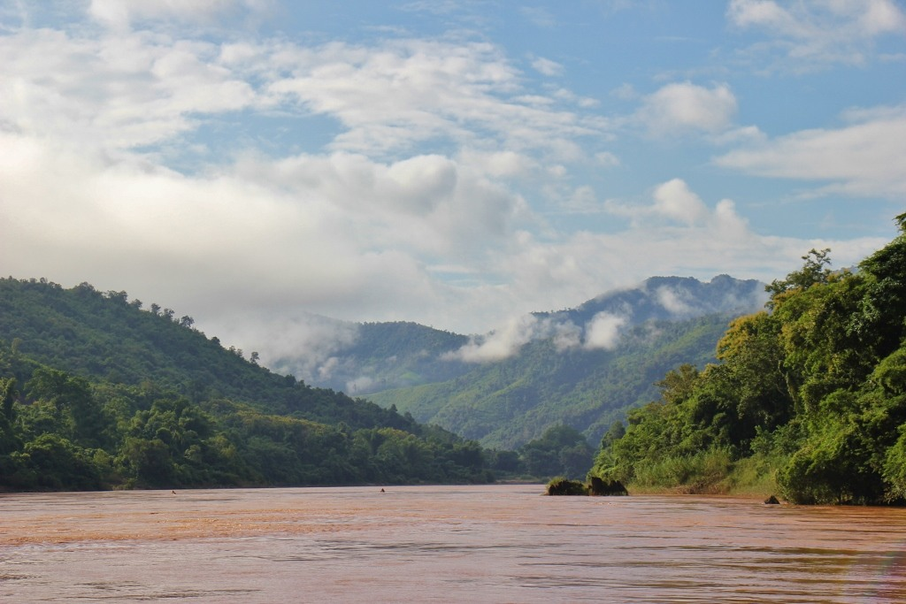 Low clouds in mountains on Mekong River, Laos
