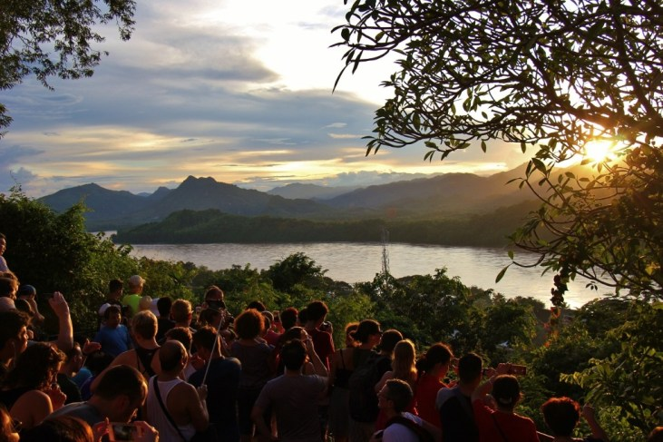 Watching sunset from Mount Phousi in Luang Prabang, Laos