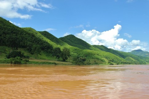 Lush mountains on Mekong River, Laos