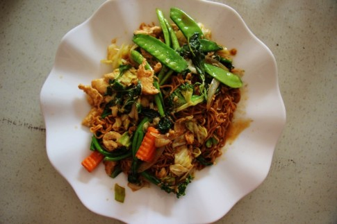 Vegetable and noodle dish in Luang Prabang, Laos