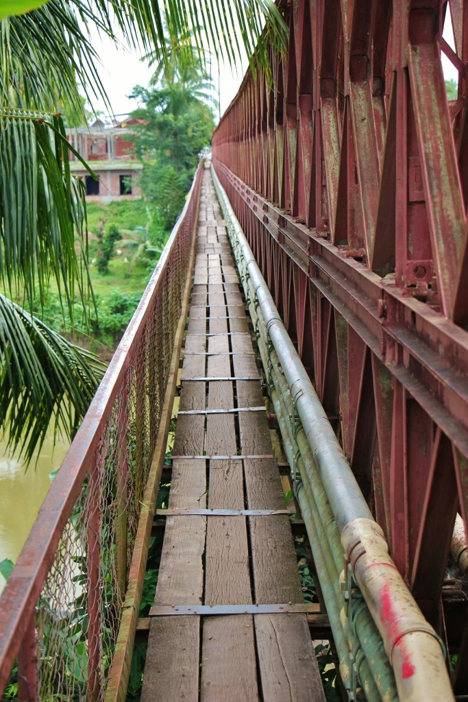 The Old Bridge pedestrian walkway in Luang Prabang, Laos