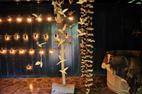 Animal remains as decor in bathroom at Black House Museum in Chiang Rai, Thailand