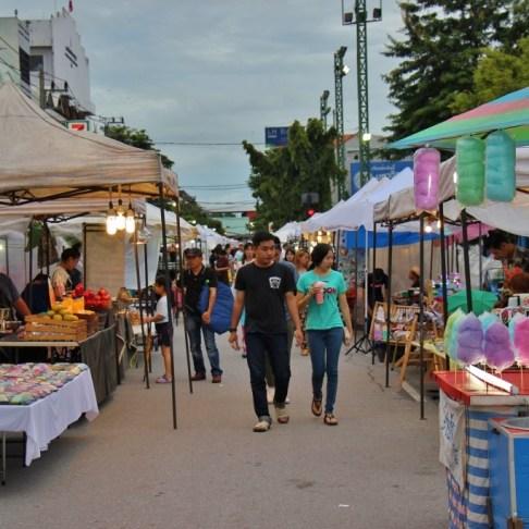 Shoppers at Saturday Walking Street Market in Chiang Rai, Thailand